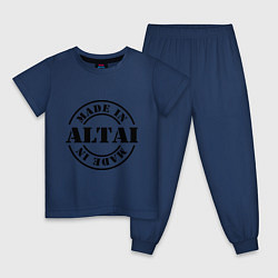 Пижама хлопковая детская Made in Altai цвета тёмно-синий — фото 1