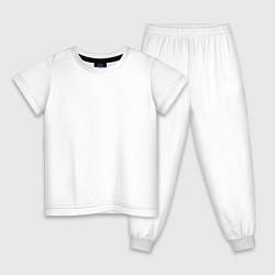 Пижама хлопковая детская Без дизайна цвета белый — фото 1