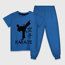 Детская хлопковая пижама с принтом Karate craftsmanship, цвет: синий, артикул: 10020014705939 — фото 1