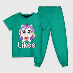 Пижама хлопковая детская Likee LIKE Video цвета зеленый — фото 1