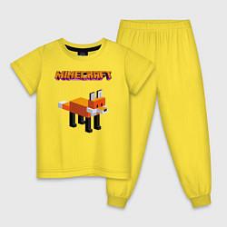Пижама хлопковая детская Minecraft - лиса цвета желтый — фото 1
