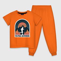 Пижама хлопковая детская Бег цвета оранжевый — фото 1