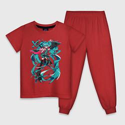 Пижама хлопковая детская Hatsune Miku Expo цвета красный — фото 1
