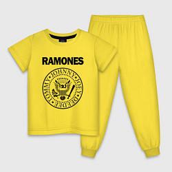 Пижама хлопковая детская RAMONES цвета желтый — фото 1