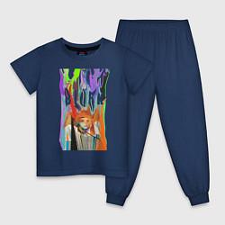 Пижама хлопковая детская Bjork цвета тёмно-синий — фото 1