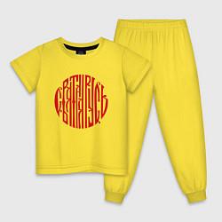 Пижама хлопковая детская Вязь Святая Русь цвета желтый — фото 1