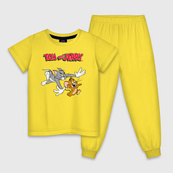 Пижама хлопковая детская Tom & Jerry цвета желтый — фото 1