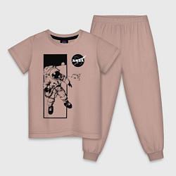 Пижама хлопковая детская NASA цвета пыльно-розовый — фото 1