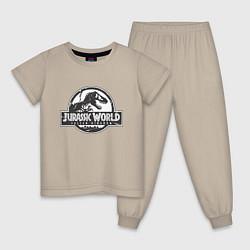 Пижама хлопковая детская Jurassic World цвета миндальный — фото 1