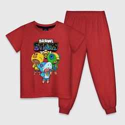 Пижама хлопковая детская Brawl Stars Leon Trio цвета красный — фото 1