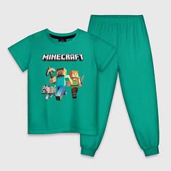 Пижама хлопковая детская MINECRAFT цвета зеленый — фото 1
