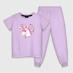 Пижама хлопковая детская Единорог цвета лаванда — фото 1