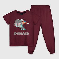 Пижама хлопковая детская Donald Skateboarding цвета меланж-бордовый — фото 1