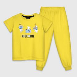 Пижама хлопковая детская Olaf: Nice Ice цвета желтый — фото 1