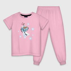 Пижама хлопковая детская Веселый Олаф цвета светло-розовый — фото 1