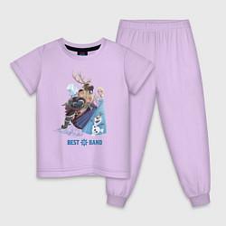 Пижама хлопковая детская Frozen: Best Band цвета лаванда — фото 1