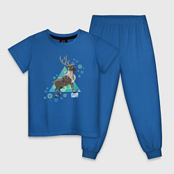 Пижама хлопковая детская Олень Свен цвета синий — фото 1