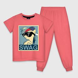 Пижама хлопковая детская Rainbow Dash swag цвета коралловый — фото 1