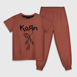 Пижама хлопковая детская Korn цвета кирпичный — фото 1
