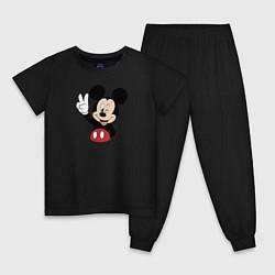Пижама хлопковая детская Микки цвета черный — фото 1