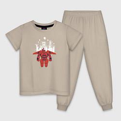 Пижама хлопковая детская Baymax цвета миндальный — фото 1