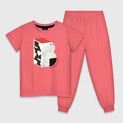 Пижама хлопковая детская Бэймакс цвета коралловый — фото 1