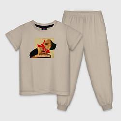 Пижама хлопковая детская Макс Барских: Вспоминать цвета миндальный — фото 1