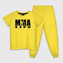 Пижама хлопковая детская MMA цвета желтый — фото 1