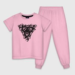 Пижама хлопковая детская Рингерике змей чёрный цвета светло-розовый — фото 1