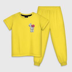 Пижама хлопковая детская Мишка Тедди цвета желтый — фото 1