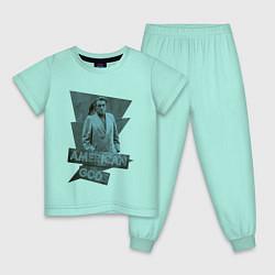 Пижама хлопковая детская Мистер Среда Американские Боги цвета мятный — фото 1