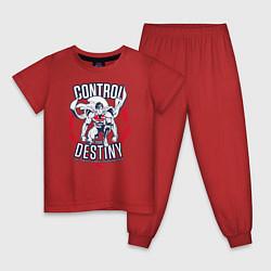 Пижама хлопковая детская Control Your Destiny цвета красный — фото 1