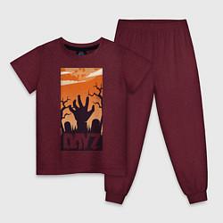 Пижама хлопковая детская DAYZ ДЕЙЗИ Z цвета меланж-бордовый — фото 1
