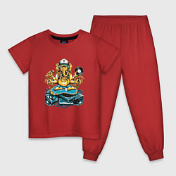 Пижама хлопковая детская ДИДЖЕЙ INDI DJ Z цвета красный — фото 1