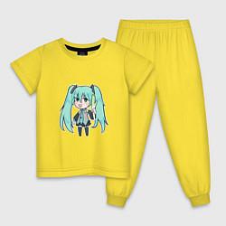 Пижама хлопковая детская Хацуне Мику цвета желтый — фото 1