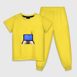 Пижама хлопковая детская Создание компьютерной программы цвета желтый — фото 1