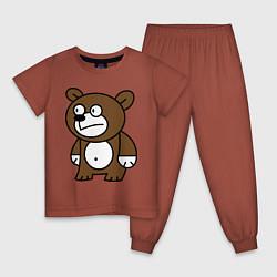 Пижама хлопковая детская Странный мишка цвета кирпичный — фото 1