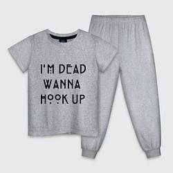 Пижама хлопковая детская Im dead wanna hook up цвета меланж — фото 1