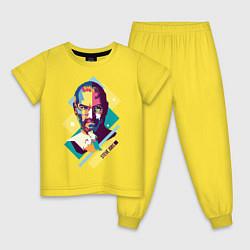 Пижама хлопковая детская Steve Jobs Art цвета желтый — фото 1