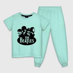Пижама хлопковая детская The Beatles Band цвета мятный — фото 1