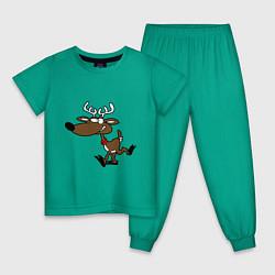 Пижама хлопковая детская Весёлый Олень цвета зеленый — фото 1