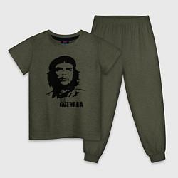 Пижама хлопковая детская Эрнесто Че Гевара цвета меланж-хаки — фото 1