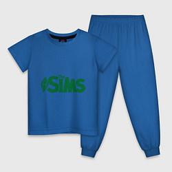 Пижама хлопковая детская Sims цвета синий — фото 1