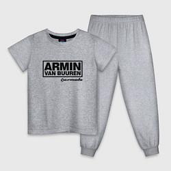 Пижама хлопковая детская Armin van Buuren цвета меланж — фото 1