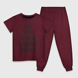 Пижама хлопковая детская DO YOU EVEN GWENT BRO? цвета меланж-бордовый — фото 1