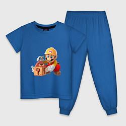 Пижама хлопковая детская Super Mario: Builder цвета синий — фото 1