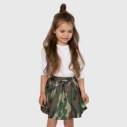 Юбка-солнце для девочки Камуфляж: хаки/зеленый цвета 3D — фото 2