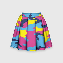Юбка-солнце для девочки Камуфляж: голубой/розовый/желтый цвета 3D — фото 1