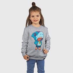 Свитшот хлопковый детский BRAWL STARS LEON SHARK цвета меланж — фото 2