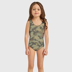 Купальник для девочки Камуфляж: хаки цвета 3D — фото 2